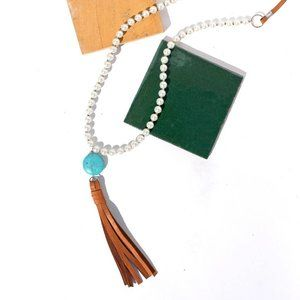 Pearl, Leather, Turquoise Tassel Necklace